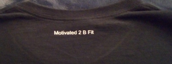Motivated at the back of the shirt